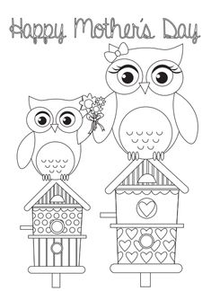 Colouring printables: Mother's Day card templates