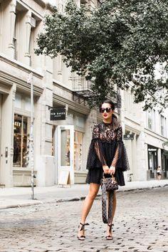Dark Romance :: Lace polka dot dress & Tie sandals