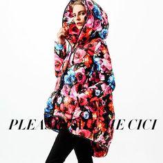 Luxury Fashion New Design CLJ Down Coat Women& Gorgeous Rose Print Medium-long Plus Size Irregular Hem Down Jacket-sz- Winter Jackets Women, Coats For Women, Clothes For Women, Long Down Coat, Parka Style, Winter Stil, Down Parka, China Fashion, Types Of Sleeves
