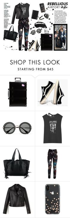 """""""REBELLIOUS /// Airport Style"""" by madtrr ❤ liked on Polyvore featuring Globe-Trotter, Madewell, Miu Miu, R13, Valentino, Dolce&Gabbana, Kate Spade, Slip, rock and airportstyle"""
