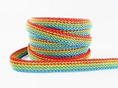 Lime Green Blue Dark Orange Braided Woven Trim by LylaSupplies, $9.00