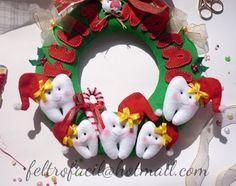 enfeite guirlanda de natal de dentinhos dentes em feltro; tooth teeth felt christmas