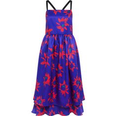 Edit - Double layer strappy full dress (610 AUD) ❤ liked on Polyvore featuring dresses, strap dress, blue spaghetti strap dress, blue floral dress, criss cross dress and floral dress