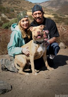 Danny Trejo with his wife and their Pitbull rescue.
