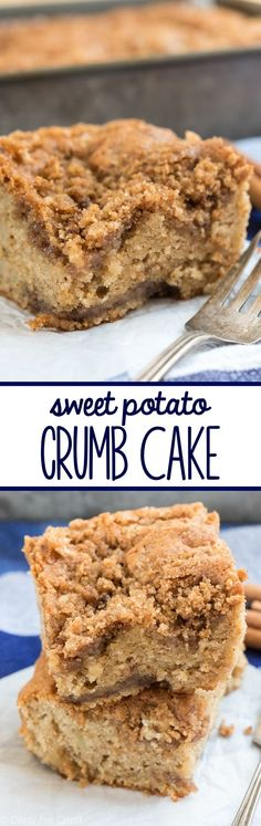 Sweet Potato Crumb Cake - an easy crumb cake recipe made super soft by using sweet potatoes. This recipe is a keeper!