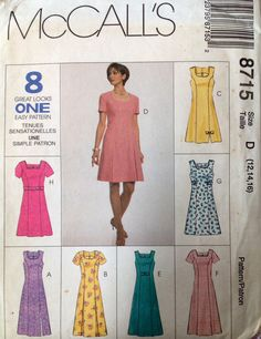 McCall's 8715 UNCUT Misses Dress in Two Lengths and Belt by Lonestarblondie on Etsy