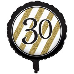 Descriptions Black & Gold Metallic 30th Birthday Balloon - Design : Black & Gold Features - Birthday Ships within 4 Business Days