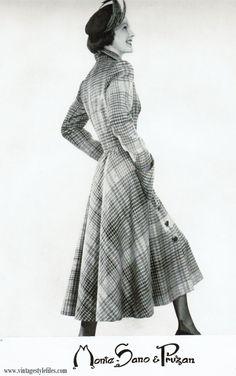 Paid check princess coat 1948 Vintage Style Files-Fashion-Nostalgia-Retro Lifestyle Blog