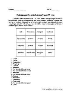 Magic square on Spanish preterite tense of regular AR-verbs no prep practice