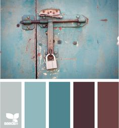 I went through all 353 pages of design-seeds.com and this is the closest I came to the palette I sought: the deep turquoise and rich chocolate combination of the 1950s. Doesn't anyone use that duet any more? It was both warm and sophisticated, and lent itself to living rooms and bedrooms.