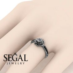 Unique Rose Engagement Ring Diamond ring 14K by SegalJewellery