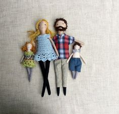 The family dolls are dress-up cloth dolls made for active, quiet and imaginative play for children of all ages.