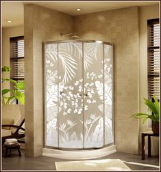 Add privacy and beauty to your home shower with Tropical Oasis Privacy Window Film - Frosted Window Covering >> WindowFilmWorld.com