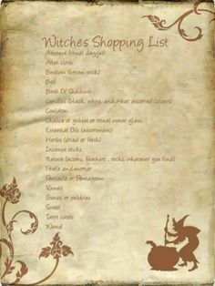 Witches Shopping List