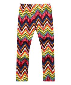 Look what I found on #zulily! Yellow & Pink Zigzag Leggings - Toddler & Girls by Richie House #zulilyfinds
