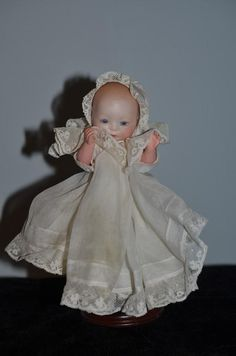 Antique Doll Bisque Baby Solid Dome Glass Eyes Gorgeous Outfit Louis Amberg