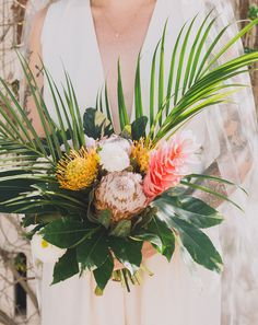 Tropical Palm Springs Wedding // protea and palm retro bouquet Tropical Wedding Bouquets, Palm Wedding, Church Wedding Flowers, Beach Wedding Reception, Flower Bouquet Wedding, Floral Wedding, Tropical Weddings, Exotic Wedding, Beach Weddings