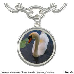 Common Mute Swan Charm Bracelet (round or square)