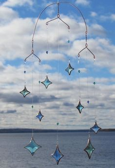 Ocean All Stars Aqua Mixed Glass Crystal and Copper Hanging Mobile. $75.00, via Etsy.