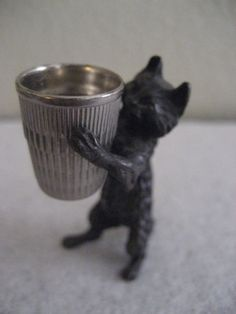 Antique Cast Metal Cat Thimble Holder | eBay