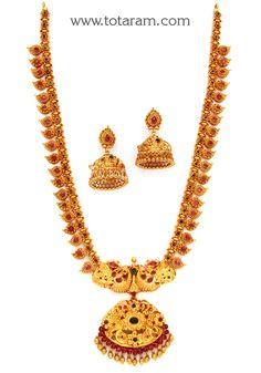 22K Gold 'Lakshmi' Long Necklace & Earrings Set (Temple jewellery)