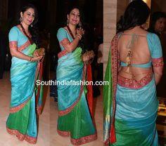 Manyata Dutt in a dual shaded saree