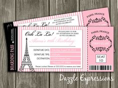 Paris Boarding Pass Birthday Invitation - FREE thank you card included. $15.00, via Etsy.