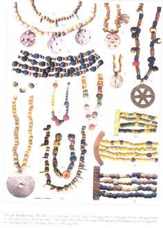 Bead ornaments, Liv/Livonian/lībiešu (Finnic) from Salaspils Laukskola burial field along the lower Daugava River in Latvia. Viking Jewelry, Ancient Jewelry, Norse People, Celtic Clothing, Viking Age, Iron Age, Beaded Ornaments, Ancient Artifacts, Lampwork Beads