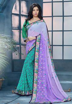 Buy Embroidered Half N Half Georgette Saree In Purple online, work: Embroidered, color: Purple / Teal Green, usage: Festival, category: Sarees, fabric: Georgette, price: $50.30, item code: SHK1419, gender: women, brand: Utsav