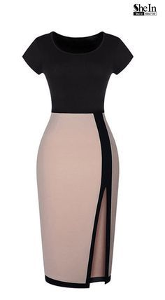 Black Apricot Short Sleeve Split Bodycon Dress Love this Dress Design! Super Sexy Black and Tan BodyCon Dress Fashion The post Black Apricot Short Sleeve Split Bodycon Dress appeared first on DIY Shares. Dress Skirt, Bodycon Dress, Slit Dress, Midi Dresses, Sleeve Dresses, Casual Dresses, Party Dress Outfits, Sheath Dresses, Club Dresses
