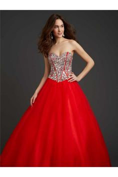 Sexy Ball Gown Sweetheart Drop Waist Red Tulle Crystal Beaded Corset Prom Dress