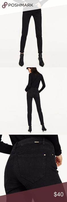 New 2017 Zara Black Jeans Sz 4 Brand new with tags from Zara. MID-RISE STRAIGHT CUT JEANS (2025) Black  Mid-rise straight jeans with five pockets and a front zip and button fastening. Size 4.  91% cotton, 6% elastomultiester, 3% elastane Zara Jeans Straight Leg