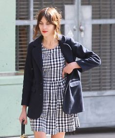 Alexa shows her love for gingham in our monochrome smock dress.