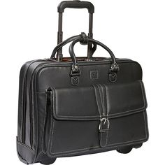 """Clark & Mayfield Stafford Rolling Leather Tote 17"""" - eBags.com"""