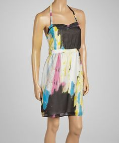 Another great find on #zulily! Black & Yellow Watercolor Halter Dress #zulilyfinds