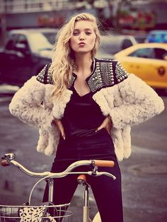 Free People Nordic Nights Jacket at Free People Clothing Boutique - studded faux fur jacket