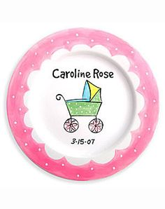 Girls Personalized Baby Carriage Ceramic Plate