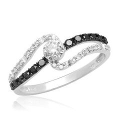 10k White Gold Black and White Diamond Promise Ring (1/4 cttw, I-J Color, I3 Clarity), $205