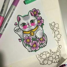 Cute cat Tattoo Japanese Style, Traditional Japanese Tattoos, Japanese Sleeve Tattoos, Yakuza Tattoo, Tattoos Skull, Star Tattoos, Maneki Neko, Pretty Tattoos, Cute Tattoos