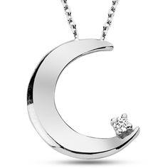 Ay ışığı altında geçen romantik gecelerinize atıfta bulunan bu eşsiz tasarım, sadece 59 TL! #necklaces #diamond #silver  http://www.modelpirlanta.com/Products/GKO0021-PIRLANTA-Gumus-Kolye.html#.USp5q6Lwm1c