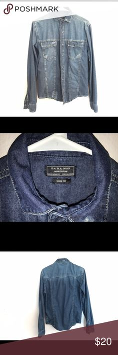 Zara men denim slim button down shirt SMALL Zara men denim slim button down shirt SMALL. Excellent condition. Worn once or twice. Zara Shirts Casual Button Down Shirts