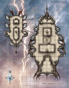 Airships moored together in the Air story Githyanki Pirate Ship by Mike Schley med Dungeons And Dragons Homebrew, D&d Dungeons And Dragons, Ship Map, Rpg Map, Dnd 5e Homebrew, Dungeon Maps, Fantasy Map, Game Art, Planer