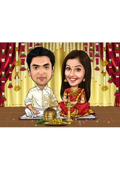 Wedding Invitations Examples, Indian Wedding Invitation Cards, Mere Brother Ki Dulhan, Wedding Couple Cartoon, Kerala, Wedding Caricature, Gifts For An Artist, Personalized Invitations, E Cards