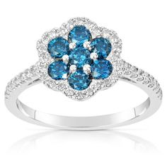 Check out this Suzy Levian 14k White Gold .61ct TDW Blue and White Diamond Ring (H-I, SI1-S12) on BriskSale: