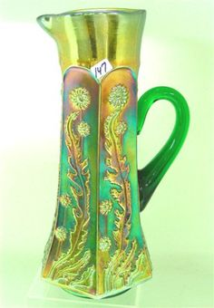 Fenton Blue Pitcher | ... Green Paneled Dandelion tankard water pitcher and six tumblers