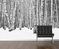 Birch tree wallpaper  repositionable peel & stick by StyleAwall, $480.00