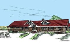 Ranch Style House Plan - 3 Beds 2.5 Baths 2824 Sq/Ft Plan #60-296 Front Elevation - Houseplans.com