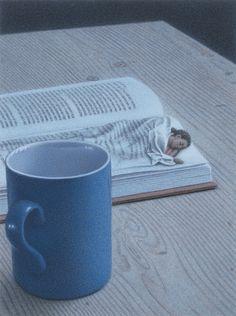 """Quint Buchholz - Edition - """"Nachts mit Buch"""" - Blattgröße 40,0x30,0cm  - Motiv 24,0x18,0cm - Aufl. 50 Stk - € 180,--"""