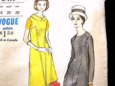 Womens Vintage 1960s Vogue Dress Pattern Misses view on Etsy by PatternsFromThePast #60s #retro #vintage