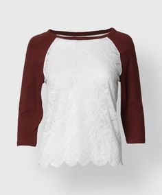 Don't let the raglan look fool you! The white part of this top is composed of lace. Light weight and perfect for summer